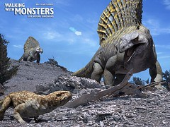Edaphosaurus confronts little Seymouria