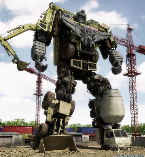 Thumb Fanmade Transformer Devastator de G1 en 3D, como si fuera real