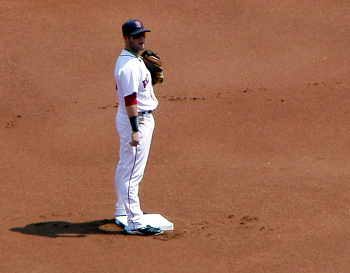 Pedroia on base by you.