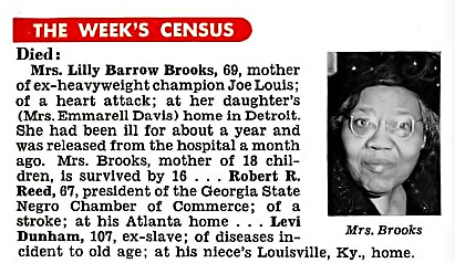 Joe Louis' Mother Lilly Barrow Brooks Dies at 69 of Heart Attack - Jet Magazine, December 24, 1953