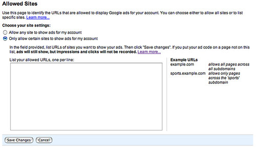 Allowed Sites in Google AdSense
