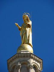 Gold-guilded Virgin (Salena Stinchcombe (Semmens)) Tags: blue sky france statue gold europe cathedral south des virgin provence notre dame avignon doms guilded davignon