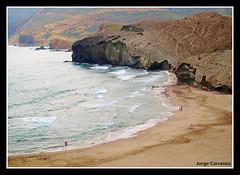 Playa de Monsul (Jorge Carranza) Tags: naturaleza mar cabo agua paisaje arena gata almeria roca ola oceano espuma monsul mywinners