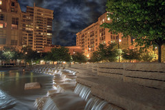 Jamison Square Fountain 2 - Pearl District - Portland Oregon - HDR (David Gn Photography) Tags: trees urban night oregon garden portland landscape apartments cityscape parks pearldistrict pdx bluehour waterfountain hdr condominiums residentialarea stormyclouds publicsquare jamisonsquare canoneos7d sigma1020mmf35exdchsm platinumpeaceaward