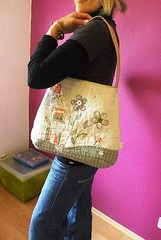Soft Flower Power (monaw2008) Tags: house flower bag handmade linen fabric cotton patchwork recycling applique handbag reused upcycled handstitching monaw monaw2008