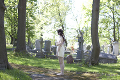 (kara o'keefe) Tags: light sun liz tree green girl cemetery graveyard bokeh tomb tombstone stjohns anglicancemetery