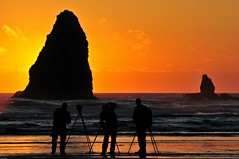 Cannon Beach 2010 (Grant Mattice Photography) Tags: ocean light sunset usa 3 color men beach wet water reflections fun rocks pacific photographers oregoncoast cannonbeach westcoast haystackrocks june2010 grantmattice