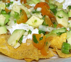 Making Nachos - yellow tomato & avocado salsa (eatlikeagirl) Tags: food gree
