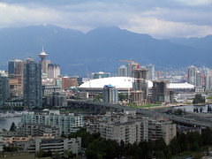 Harbour Centre Tower and BC Place (Ruth and Dave) Tags: bridge tower vancouver downtown view skyscrapers stadium falsecreek cambie bcplace harbourcentre