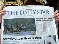 Una portada del periódico libanes Daily Star