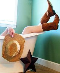 Playing in the Tub Again 127/365 (jgcf) Tags: hat star bathtub cowboyboots photooftheday blueribbonwinner 127365