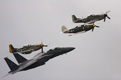 American fly past (John_Kennan) Tags: p51d mustang duxford flyinglegends airdisplay aircobra f15 canon eos 20d slr aeroplane plane aircraft fighter