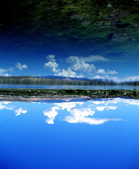 just another reflection (Ana Bel) Tags: travel blue sky usa cloud lake color reflection water glass weather mirror scenery surface calm journey