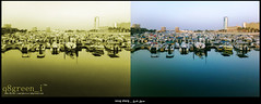 5 (q8green_i) Tags: morning sea reflection green water marina landscape gold golden boat reflect kuwait q8 soug sharg   vwc   kvwc kuwaitvoluntaryworkcenter  kuwaitvwc q8greeni q8green