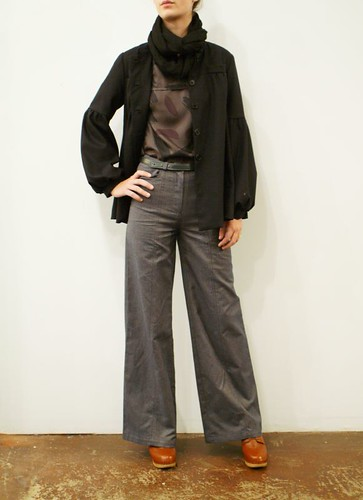 Rachel Comey silk blouse & wide leg pants, Nave wool jacket, Thuy leather belt
