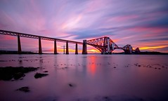 Sunset Bridge (Semi-detached) Tags: sky bw colour beach landscape scotland edinburgh long exposure colours streak south may warmth scottish filter shore 2010 waterscape nd1000 nd110 queensfeery southqueensferryforthrailbridgesunsetwaterwaves