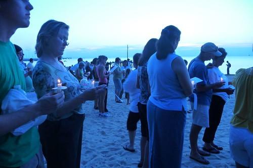 Prayer vigil on the beach