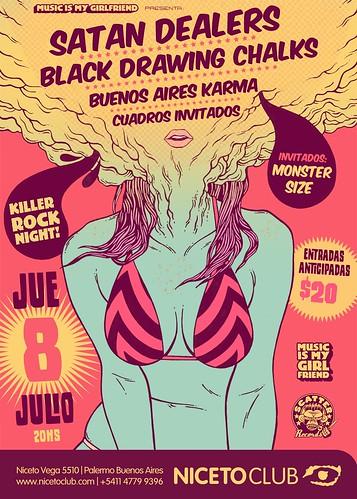 Flyer Satan Dealers   Black Drawing Chalks   Buenos Aires Karma   Cuadros Invitados