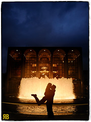 Water Fire (Ryan Brenizer) Tags: nyc wedding woman man love water silhouette groom bride engagement nikon kiss manhattan noflash lincolncenter d3s 24mmf14g