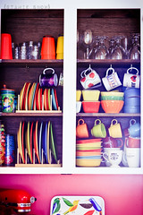 Rainbow Cupboards (Roxycraft) Tags: kitchen rainbow fiesta dishes fiestaware cupboard pyrex pinkkitchen