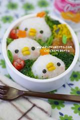 3 Chickens Bento (luckysundae) Tags: kawaii bento obento facefood makiogawa cutebento charaben kyaraben kawaiibento cuteobento 501bentoboxlunches kawaiiobento yumyumbentobox