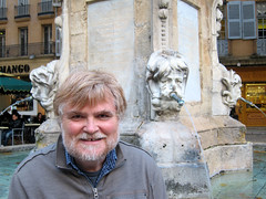IMG_2338: Bill at an Aix Fountain