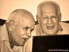 Old is Gold (Sally A. Habib) Tags: old sepia grandfather laugh cheerful gradparent