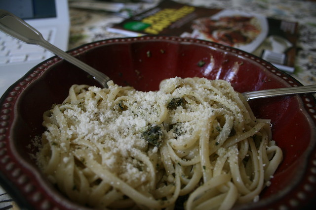 pumpkin seed pesto linguine