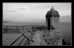 The Guard House (Radiant Squares Photography) Tags: old travel sea bw white black tower stone architecture blackwhite europe mediterranean cotedazur photographer guard 2006 montecarlo monaco class diamond canon350d rebelxt railing canonrebelxt canoneosdigitalrebelxt mediterraneansea frenchriviera guardtower efs1855mmf3556 detwiler aplusphoto diamondclassphotographer flickrdiamond ishflickr raydetwiler rfdhpotography rfdhpoto