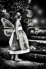 Wishing by the Well (millylillyrose) Tags: blackandwhite 20d girl canon child magic well fairy magical bnw wishing faries blackribbonbeauty blackribbonofbeauty