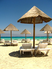 Cone Obstacles (Nikosp!) Tags: blue sea summer sun island sand paradise greece crete vacations chrissi lasithi sunbeds   chrissiisland