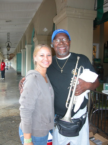 My niece with Hack Bartholomew, local NOLA musician.