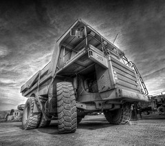 In the path of one BIG dump truck. (dfworks) Tags: construction dumptruck hdr 3xp photomatix sigma1020 superaplus aplusphoto