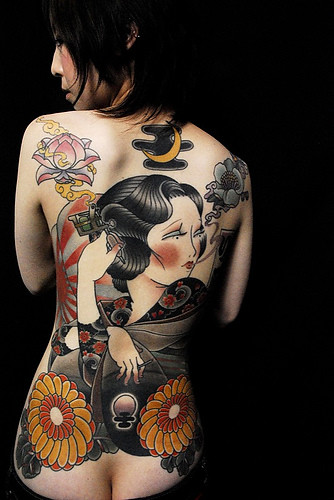 Back Piece Geisha Japanese Tattoo 3