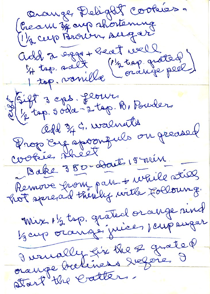 Grandma Hilda's Orange Delight Cookie Recipe Written in Her Own Hand