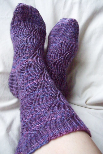 pair of purple pomatomus socks
