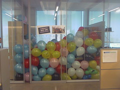 prank day - office full of balloons (lynneluvah) Tags: shozu balloons office prank camerphone pranks tmobilewing