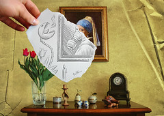 Pencil Vs Camera - 19 (Ben Heine) Tags: pink flowers wild wallpaper reflection art texture clock monster rose tongue mouth painting paper poster table 3d scary nikon candle shine hand transformation time modernart surrealism flames d70s gaz yeux frog canvas textures illusion pollution frame saturation environment series gasmask wax bouquet horloge crayon creature 2d scarlettjohansson 19 bougie ticktock crosshatching tulipes miseenabyme teethe johannesvermeer theartistery girlwithapearlearring posttreatment masquegaz crapeau fullcolors mywinners benheine drawingvsphotography traditionalvsdigital flickrunited pencilvscamera imaginationvsreality miroslawkwiatkowski
