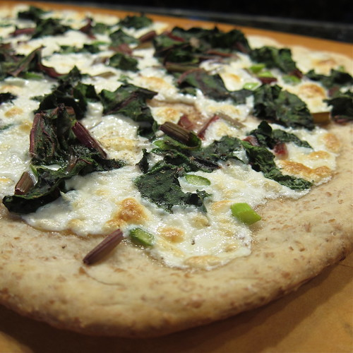 Beet Green & Garlic Scape Pizza