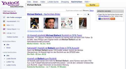 Yahoo news search results page in German