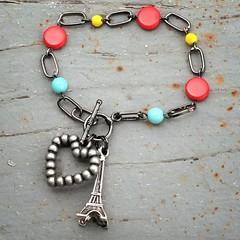 Je t'aime Paris Eiffel Tower charm bracelet