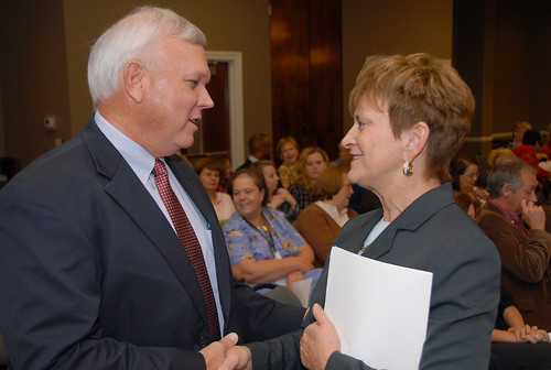 USDA Food, Nutrition and Consumer Services Deputy Under Secretary Janey Thornton congratulates Shelby County School District Superintendent Randy Fuller