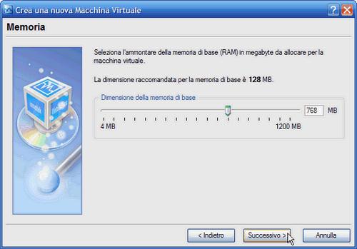 VirtualBox - quantità di memoria della macchina virtuale