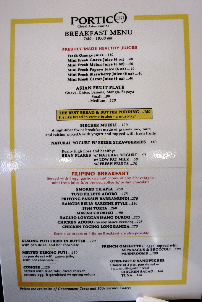 Check Out The Porticos Breakfast Menu
