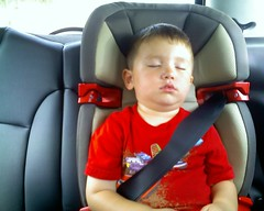 asleep in the new booster seat