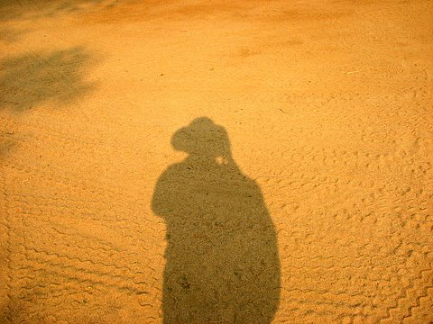 portrait of a traveller in the extreme dust