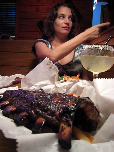 Ribs, and girlie sees a cricket at Texas Roadhouse