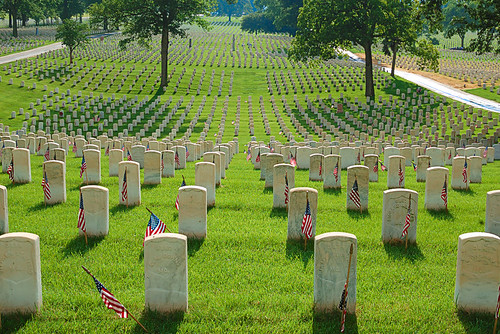 Jefferson Barracks National Cemetery, in Lemay, Missouri, USA - graves with flags