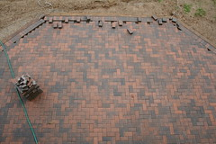 Patio Bricks: A Pattern Comes Together (marylea) Tags: brick home project diy do pattern bricks it patio yourself 2009 improvement doityourself pavers sep8