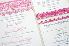 Spanish Lace Wedding Invitation (Sarah Parrott) Tags: pink blue classic floral vintage spain script elegant letterpress simple bold stylish destinationwedding parrottdesignstudio spanishlaceweddinginvitation